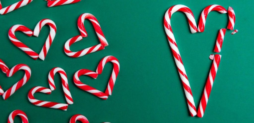 Heart christmas candy cane